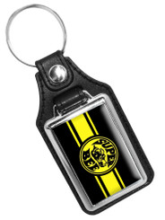 Dodge Super Bee Black & Yellow Printed Emblem Faux Leather Key Ring