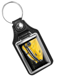 1954 Chevrolet Yellow Front End Design Faux Leather Key Ring
