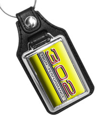 Mustang 302 High Performance Car Emblem Key Ring  Yellow