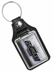 Chevrolet Bow Tie Logo With Steel Like Printed Background Key Ring