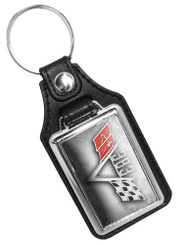 Chevy Flag 383 Emblem Faux Leather Key Ring