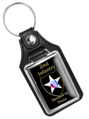 2nd Infantry Second To None Faux Leather Key Ring