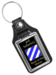 3rd Infantry Rock of the Marne Faux Leather Key Ring