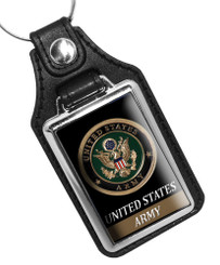 United States Army Crest Emblem Faux Leather Key Ring