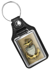 Coast Guard Key Ring With Gold Anchor Silver Shield Faux Leather Key Ring