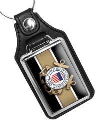 United States Coast Guard 1790 Emblem Faux Leather Key Ring