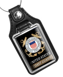 United States Coast Guard  Emblem Faux Leather Key Ring