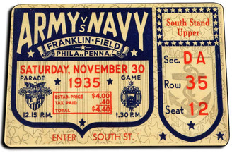 1935 Army Navy Game Ticket Door Mat Rug
