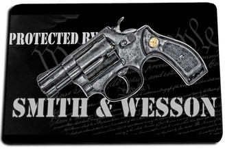 Protected by Smith & Wesson  Door Mat Rug
