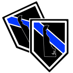 State of Delaware Thin Blue Line Police Decal (Sticker) - Pack of 2 Decals