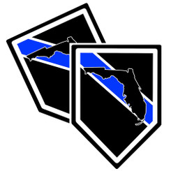 State of Florida Thin Blue Line Police Decal (Sticker) - Pack of 2 Decals