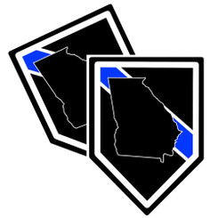 State of Georgia Thin Blue Line Police Decal (Sticker) - Pack of 2 Decals