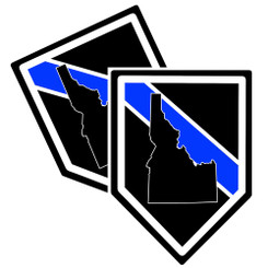 State of Idaho Thin Blue Line Police Decal (Sticker) - Pack of 2 Decals