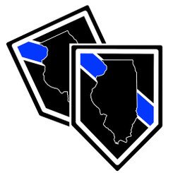 State of Illinois Thin Blue Line Police Decal (Sticker) - Pack of 2 Decals