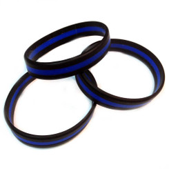 Thin Blue Line Silicone Law Enforcement Children's Bracelet Pack of 3