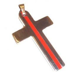 Tungsten Carbide Red Line Cross.