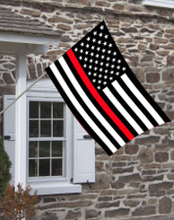 Thin Red Line Subdued Colored American House Flag.
