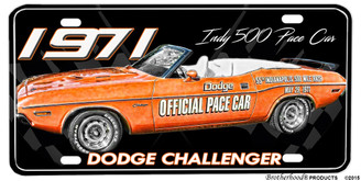1971 Dodge Challenger Indy 500 Pace Car License Plate