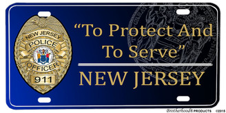 New Jersey State Police Aluminum License Plate