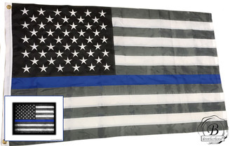 "Cotton Thin Blue Line Subdued American  Flag 36 x 60 Inches and free 8"" x 10"" matching print"