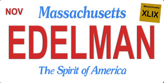 Massachusetts Edelman Aluminum License Plate