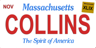 Massachusetts Collins Aluminum License Plate