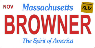Massachusetts Browner Aluminum License Plate