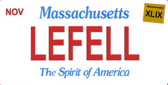 Massachusetts Lefell Aluminum License Plate