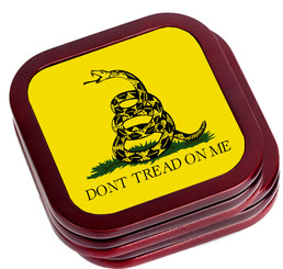 Don't Tread On Me Mahogany Wooden Coasters Set of 4