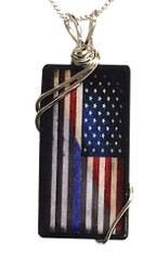 Thin Red and Blue Line American Flag Pendant with Sterling Silver Chain