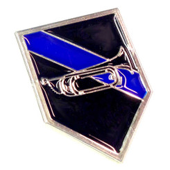 Thin Blue Line Bugle Shield Shaped Pin