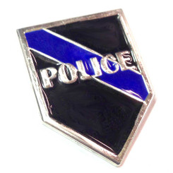 Silver Thin Blue Line Police Lapel Pin