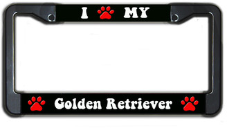I Paw My Golden Retriever License Plate Frame
