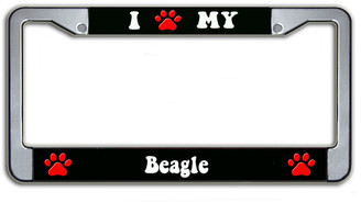 I Paw My Beagle License Plate Frame