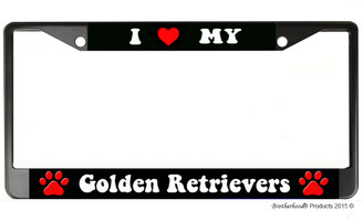I Heart My Golden Retriever License Plate Frame