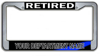 Customizable Retired Police Department License Plate Frame