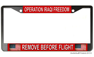 Operation Iraqi Freedom Remove Before Flight License Plate Frame