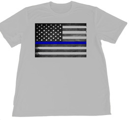 Gray Thin Blue Line Subdued American Flag Wicking T-Shirt S-XXL
