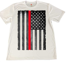 Thin Red Line Subdued Distressed American Flag Rapid Dry T-Shirt