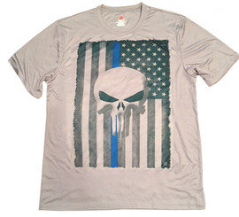 Punisher Thin Blue Line American Flag Rapid Dry Police T-Shirt