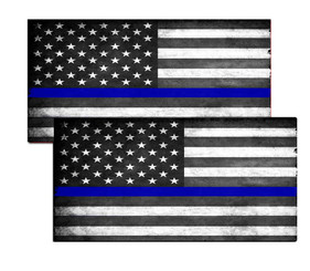 Thin Blue Line Subdued American Flag Decal