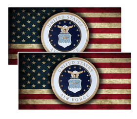 United States Air Force On American Flag Decal