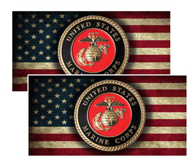 U.S. Marine Corp Seal Decal on American Flag