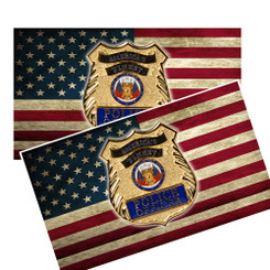America's Finest Police Officer Badge on American Flag Decal