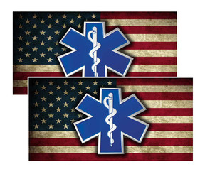 EMS Star of Life on American Flag Decal