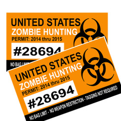 United States Zombie Hunting Permit Decal