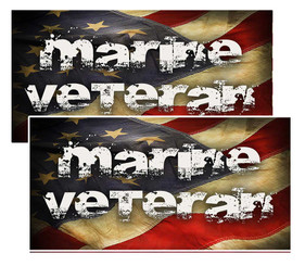 Marine Veteran Distressed American Flag Decal