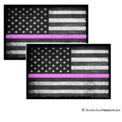 Thin Pink Line Subdued American Flag Decal