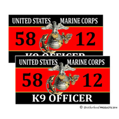 United States Marine Corps K9 Officer 5812 Decals Pack of 4