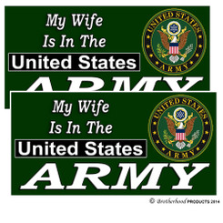 My Wife Is In The US Army Decals Pack of 4